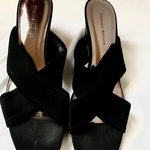 Etienne Aigner Black Cloth Wedge Sandals